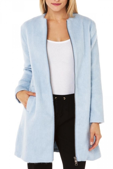 Blue Womens Charming Double Zipper Over Coat