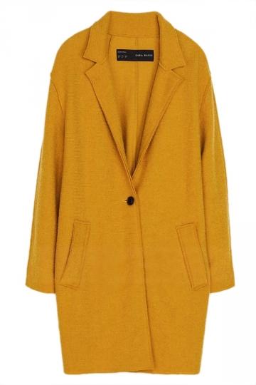 Yellow Trendy Womens Warm Winter Tweed Coat