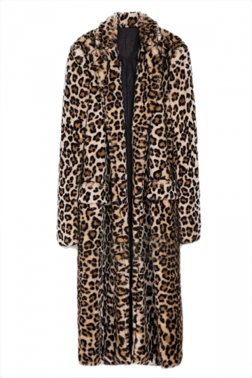 Brown Trendy Ladies Charming Leopard Faux Fur Coat
