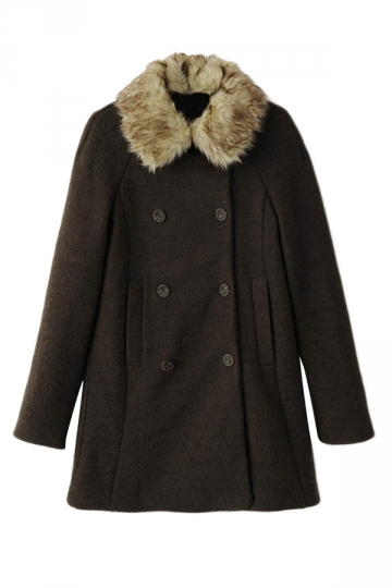 Green Sexy Ladies Fur Collar Winter Warm Plain Pea Tweed Coat
