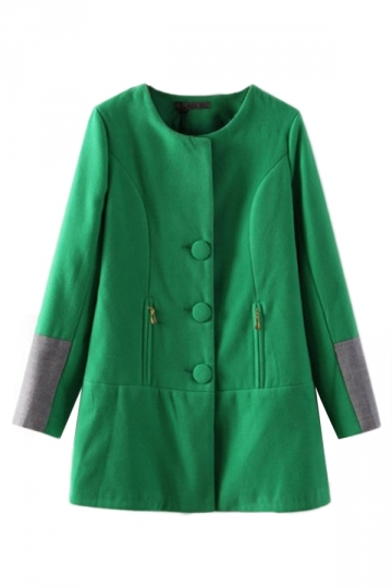 Green Elegant Womens Patchwork Color Block Trench Tweed Coat