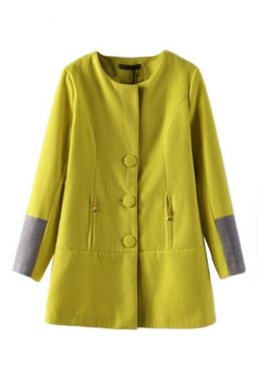Yellow Elegant Womens Patchwork Color Block Trench Tweed Coat