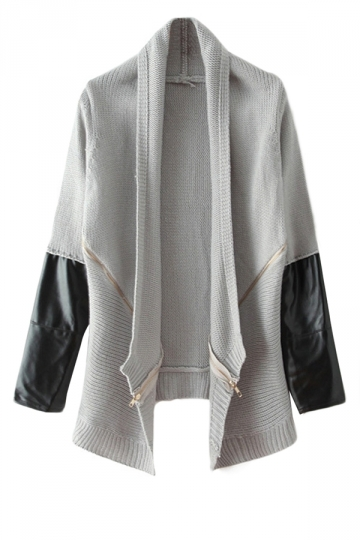 Gray Womens Vintage Sweater Faux Leather Patchwork Lapel Coat