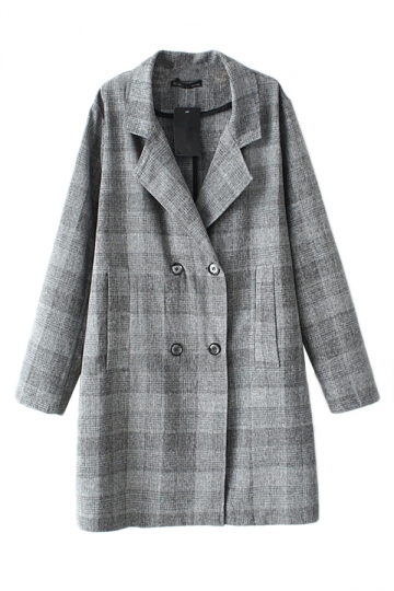 Black Ladies Long Sleeves Lapel Classic Plaid Trench Pea Coat
