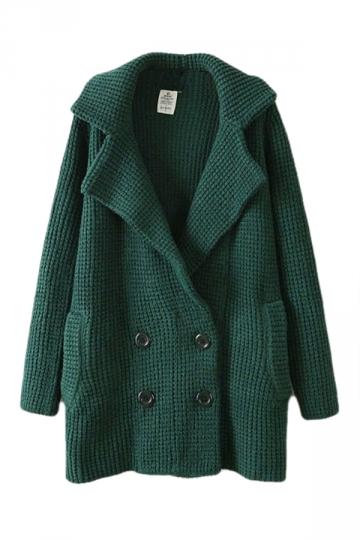 Green Ladies Lapel Vintage Pea Plain Long Sleeves Sweater Coat