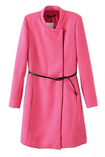 Rose Red Pretty Womens Long Sleeve Belt Plain Over Coat