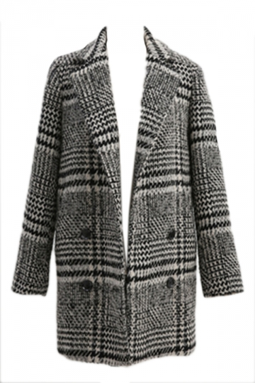 Gray Lapel Vintage Womens Elegant Lapel Plaid Chic Tweed Coat