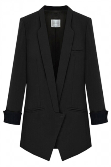 Black Stylish Womens Suit Plain Skinny Office Lady Blazer