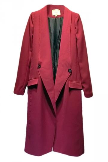 Ruby Lapel Long Sleeves Womens Fashion Long Blazer Coat