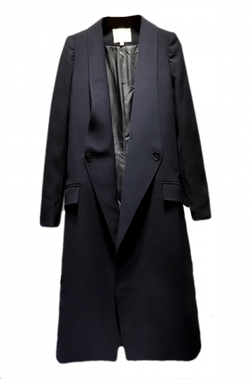 Navy Blue Lapel Long Sleeves Womens Fashion Long Blazer Coat