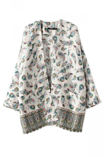 Blue Vintage Womens Printed Poncho Cardigan Oversized Outwear