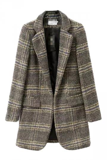Gray Vintage Fancy Womens Plaid Tweed Slim Over Coat