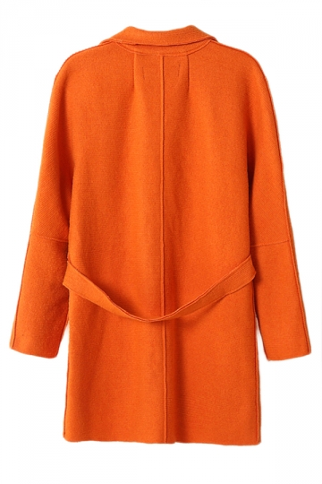 Orange Ladies Lapel Plain Loose Wool Blazer Coat