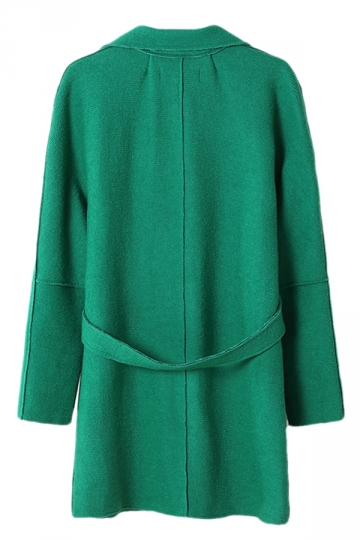 Green Ladies Lapel Plain Loose Wool Blazer Coat