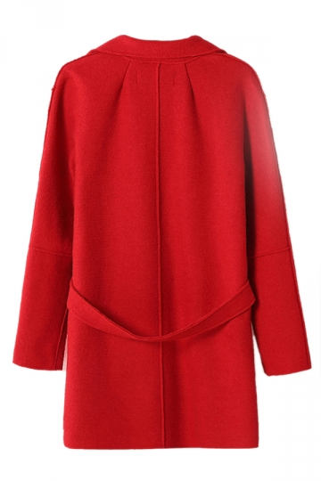 Red Ladies Lapel Plain Loose Wool Blazer Coat