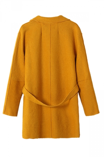 Yellow Ladies Lapel Plain Loose Wool Blazer Coat
