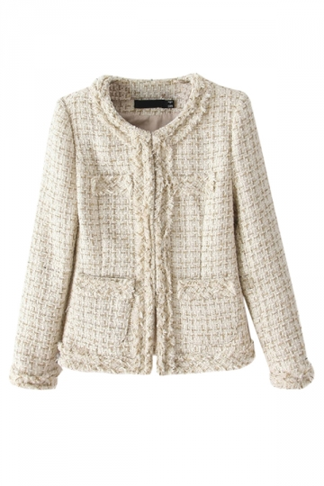 Beige Womens Fashion Slim Winter Vintage Knit Coat