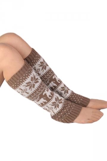 Khaki Classic Womens Snowflake Christmas Knitted Leg Warmers