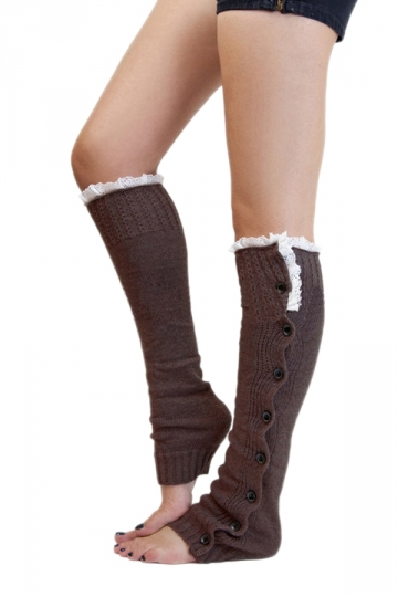 Coffee Fashion Womens Button Lace Warm Knitted Leg Warmers
