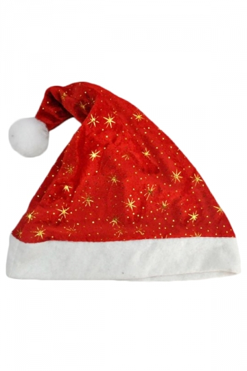 Red Cute Ladies Flannel Pleuche Printed Santa Christmas Hat