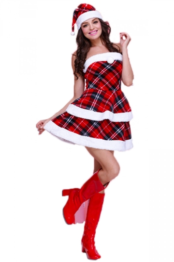 Red Chic Womens Tube Plaid Fur Dress Christmas Santa Costume ...