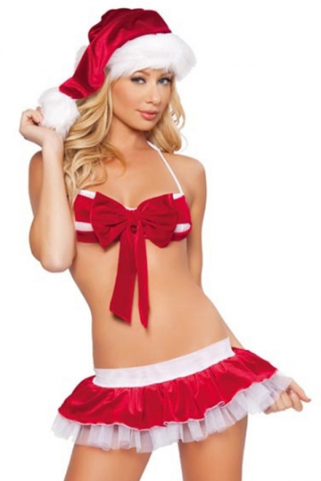 Red Sexy Ladies Christmas Bow Bikini Pleuche Santa Costume - PINK ...