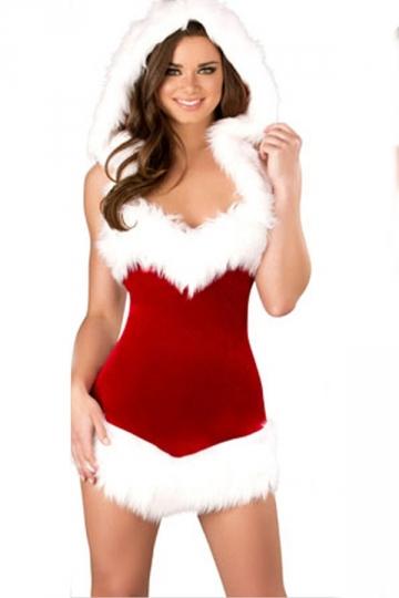Red Vintage Ladies Christmas Hooded Fur Dress Santa Costume