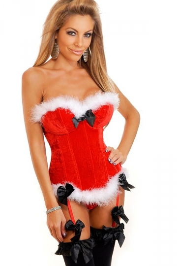 Red Sexy Womens Over Bust Tube Bow Christmas Lingerie - PINK QUEEN