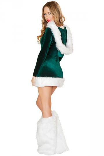 Green Elf Christmas Dress Hooded Square Neck Santa Helper Costume