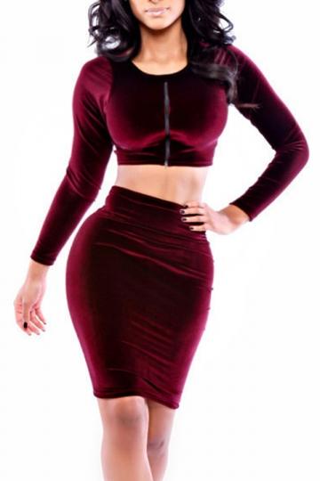 Ruby Womens Elegant Long Sleeves Zipper Corduroy Skirt Suit