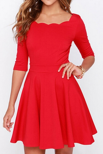 Red Flare Sexy Classic Half Sleeves Skater Dress