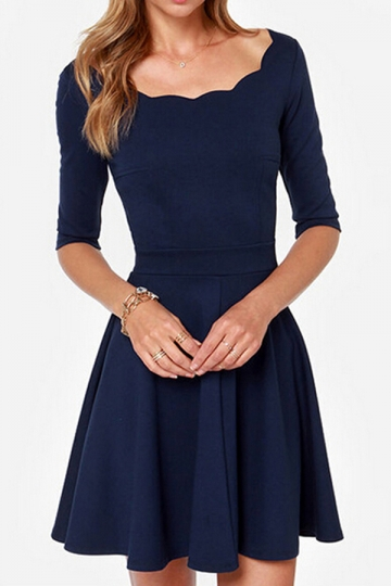 Navy Blue Flare Sexy Classic Half Sleeves Skater Dress