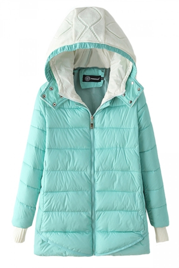 Turquoise Modern Womens Hooded Color Block Long Quilted Coat