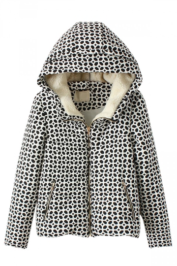 Black and White Cute Ladies Printed Winter Warm Hooded Car Coat