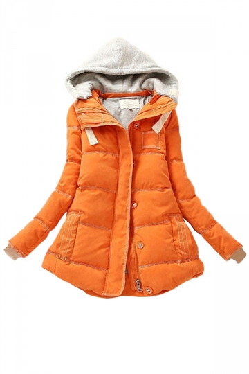 Orange Pretty Ladies Color Block Hooded Quilted Parka Coat