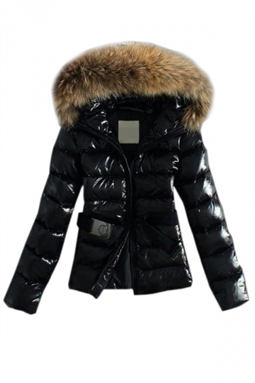 Black Sexy Ladies Winter Warm Plain Fur Hooded Quilted Car Coat