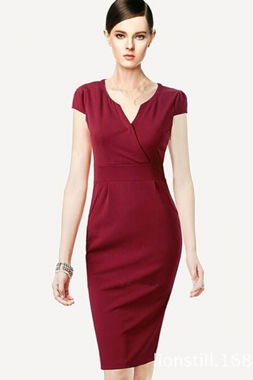 Ruby Neck Slim Sexy Womens Classic Midi Dress