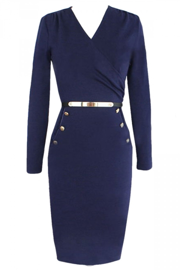 Blue Womens Fashion Long Sleeves V Neck Wrap Midi Dress
