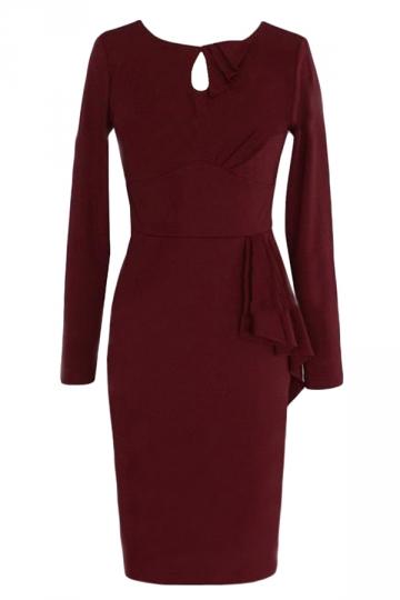 Ruby Ruffle Chic Ladies Long Sleeves Zipper Elegant Midi Dress