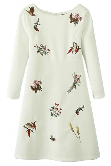 White Pretty Ladies Birds Floral Embroidered Long Sleeve Dress
