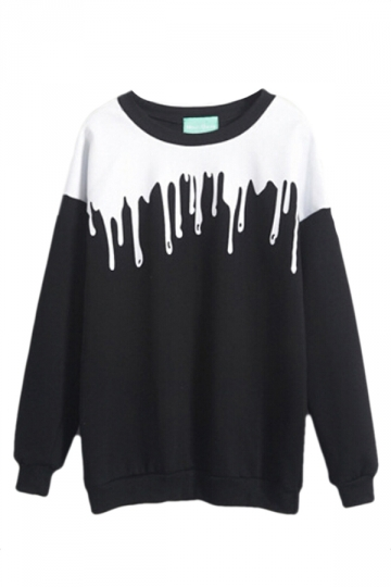 Black Womens Color Block Crew Neck Pullover Printed Sweatshirt