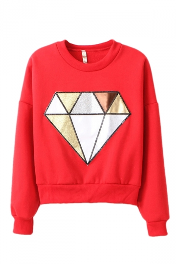 Red Chic Ladies Pullover Crew Neck Diamond Printed Sweatshirt