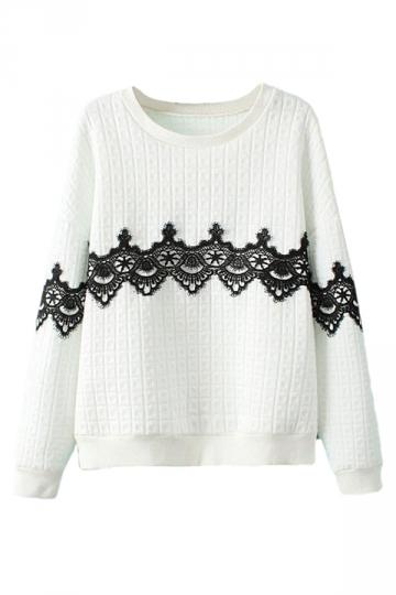 White Ladies Lace Applique Crew Neck Pullover Printed Sweatshirt