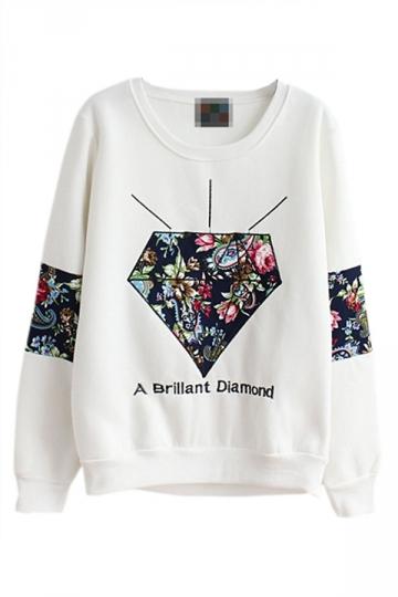 White Womens Pullover Fleece Crew Neck Diamond Printed Sweatshirt