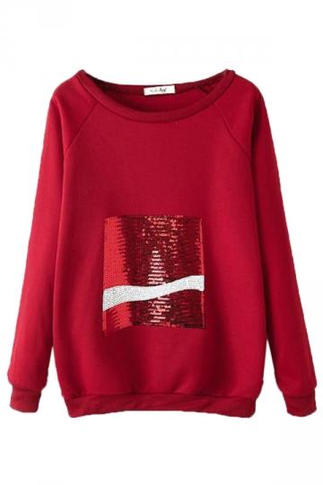 Red Long Sleeves Sequins Coke Loose Womens Jumper Sweatshirt