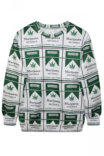 3D Marijuana Leaves Print Ladies Crew Neck Jumper Sweatshirt