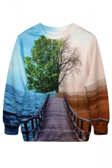 Blue Womens 3D Cool Scenery Printed Crew Neck Jumper Sweatshirt