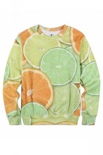 Green Cute Womens Crew Neck 3D Lemon Printed Jumper Sweatshirt