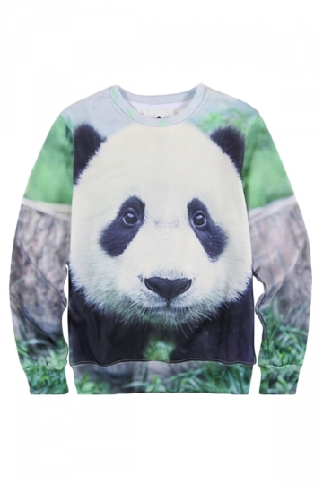 Black Crew Neck 3D Cute Panda Printed Thick Jumper Sweatshirt