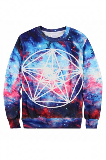 Blue Vintage Galaxy Printed 3D Thick Pullover Womens Sweatshirt